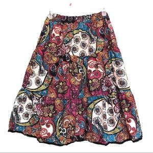 Via Spiga Multi Coloured Floral Paisley Skirt
